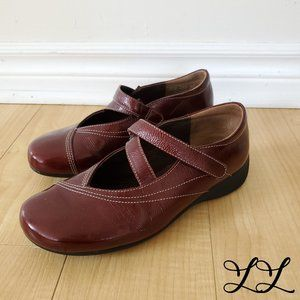 Wolky Shoes Flats Dark Red Leather Shiny Straps
